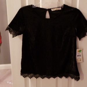 Black Velvet Top with Lace Trim NWT